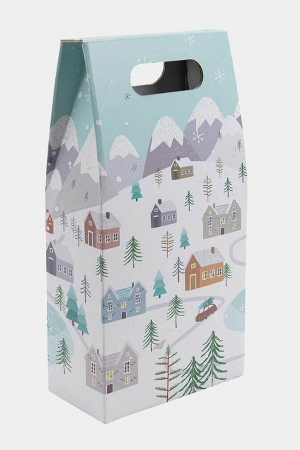 2 bottle snowy scene gift box
