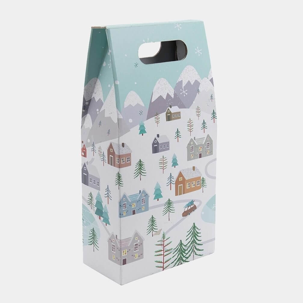 2 bottle snowy scene gift box
