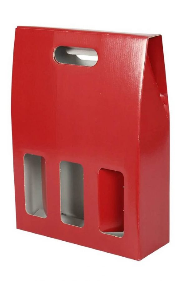 3 bottle red gift box